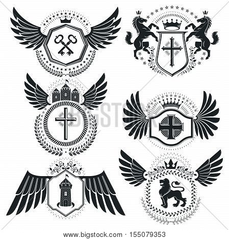 Heraldic designs vector vintage emblems. Coat of Arms collection vector set.