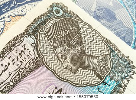 Egyptian pound, close up of Egypt paper bank note money