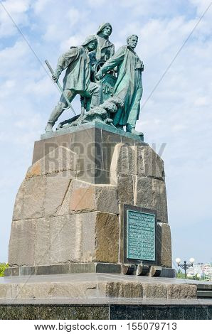 Novorossiysk Krasnodar Krai Russia - August 28 2016. Monument to the crew seiner Urup fishing farm Chernomorets who died during the hurricane in the area of Poti on 21 February 1953.