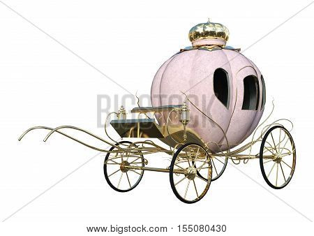 3D rendering of a Cinderella carriage isolated on white background