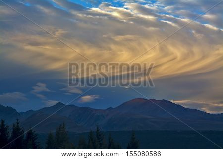 Rolling Clouds Above Mountains Before Sunset, Aoraki Mount Cook National Park, New Zealan