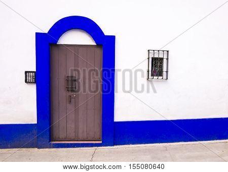 Typical colonial door in San Cristobal de las Casas, Chiapas, Mexico