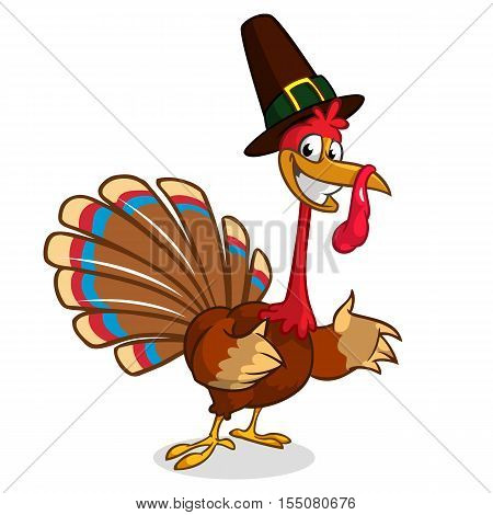 Cartoon turkey in pilgrim hat. Thanksgiving vector illustration isolated on white background