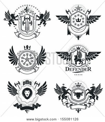 Heraldic Coat of Arms vintage vector emblems. Classy symbolic illustrations collection vector set.