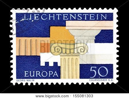 LIECHTENSTEIN - CIRCA 1968 : Cancelled postage stamp printed by Liechtenstein, that shows Europa stamp.