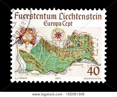 LIECHTENSTEIN - CIRCA 1977 : Cancelled postage stamp printed by Liechtenstein, that shows Europa stamp.