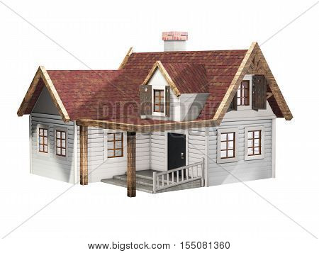 Small clapboard siding house with red roof isolated on a white background little cottage realestate concept 3D illustration