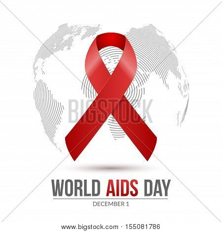 World AIDS Day. 1st December World Aids Day hiv poster. Vector medical illustration desease with red ribbon.