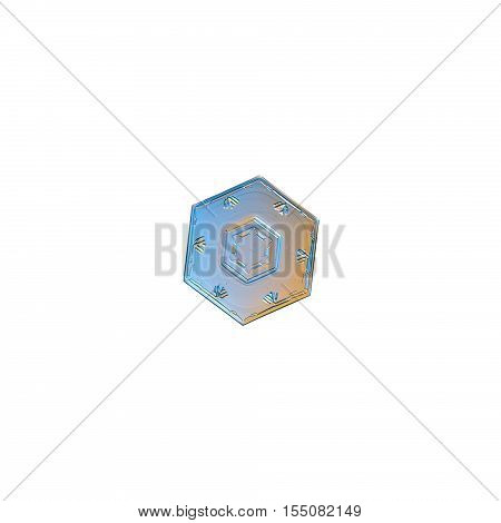 Snowflake isolated on white background. This is macro photo of real snow crystal: tiny and simple hexagonal plate with relief details of central hexagon and pattern of six marks near of outer rim.