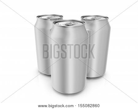 Aluminum drink cans on a white background. 3D illustration.