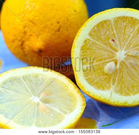 Juicy lemons Lemon slices. Fresh Lemon. Fresh citrus fruit background.