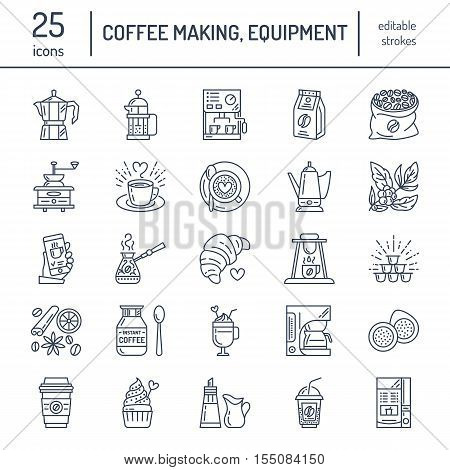 Vector line icons of coffee making equipment. Elements - moka pot, french press, coffee grinder, espresso, vending, coffee plant. Linear restaurant, shop pictogram with editable stroke for coffee menu