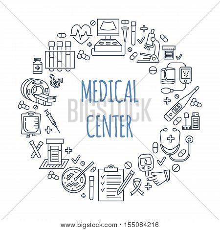Medical poster template. Vector line icon, illustration of medical center, health check up. Medical equipment - mri, cardiogram, glucometer, doctor, ultrasound, blood test. Healthcare banner design