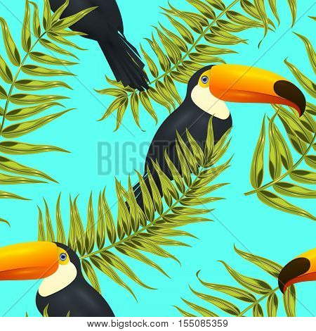 Seamless tropical bird pattern, exotic background with palm tree branches, leaves, leaf, palm leaves. endless texture with toco toucan bird