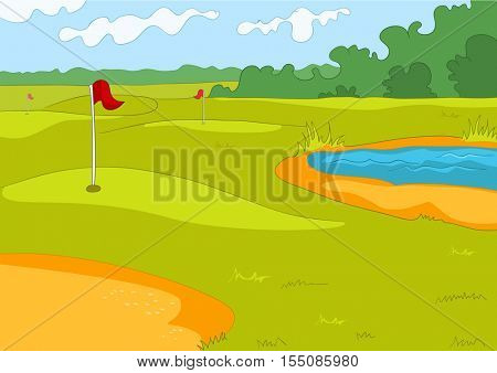 Hand drawn cartoon of sport infrastructure. Colourful cartoon of sport stadium background. Cartoon background of golf course at sunny summer day. Cartoon of green golf field with red flag.