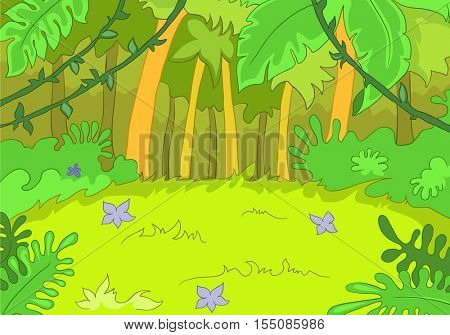 Hand drawn cartoon of summer landscape. Colourful cartoon of summer background. Cartoon background of summer forest. Cartoon of forest glade with flowers. Cartoon of rain-forest landscape.