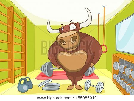 Hand drawn cartoon of gym room with bull. Cartoon background of gym room with bull character. Cartoon of fitness gym room interior with weights. Cartoon of bull bodybuilder working out in the gym.