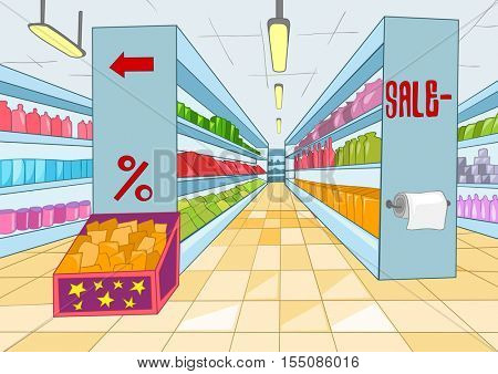 Hand drawn cartoon of supermarket interior. Colourful cartoon of background of grocery store with product shelves. Cartoon background of supermarket aisles. Cartoon of supermarket shelves with goods.