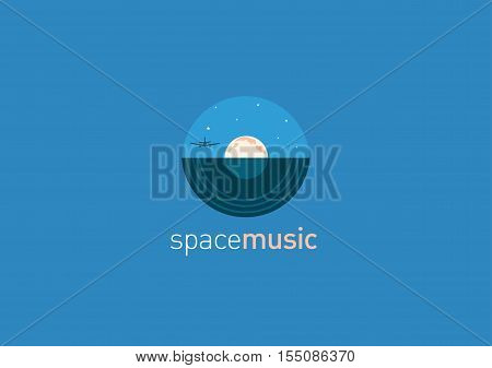 Creative logo music disc and the moon