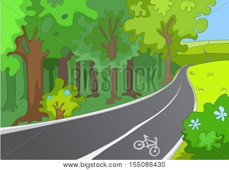 Hand drawn cartoon of sport infrastructure. Cartoon background of bicycle lane. Background of empty bike lane in the park with bicycle sign. Cartoon of bike lane. Background of bike lane for cyclist.