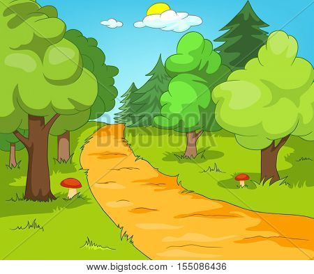 Hand drawn cartoon of summer landscape. Colourful cartoon of summer background. Cartoon background of summer forest with footpath. Cartoon of forest glade. Cartoon of forest landscape.