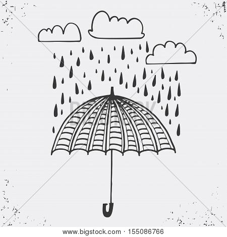 Hand drawn poster with umbrella clouds and raindrops. Umbrella and rain drops black silhouette on white background. Vector illustration Used for greeting cards posters and print invitations. typographic design. Vector illustration.