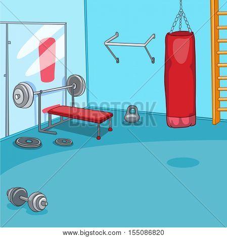 Hand drawn cartoon of gym room. Cartoon background of gym room. Cartoon of fitness center interior. Background of fitness gym room interior with punching bag. Cartoon of modern gym with equipment.