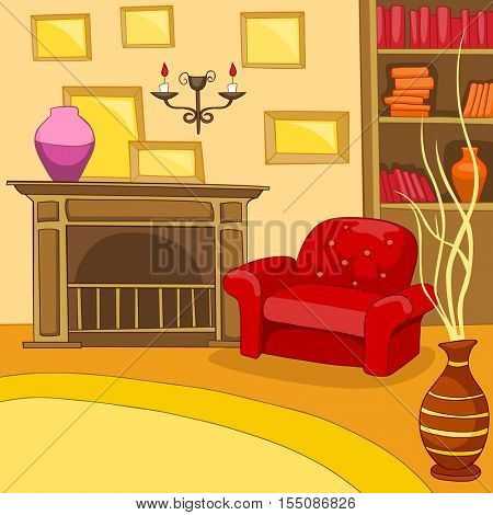 Hand drawn cartoon of living room. Colourful cartoon background of retro living room. Background of living room with armchair and fireplace. Cartoon of home interior. Cartoon of living room interior.