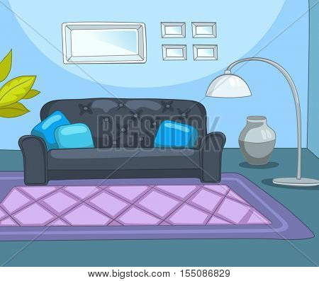 Hand drawn cartoon of contemporary living room. Colourful cartoon background of living room. Background of living room with sofa, lamp. Cartoon of modern living room. Cartoon of living room interior.