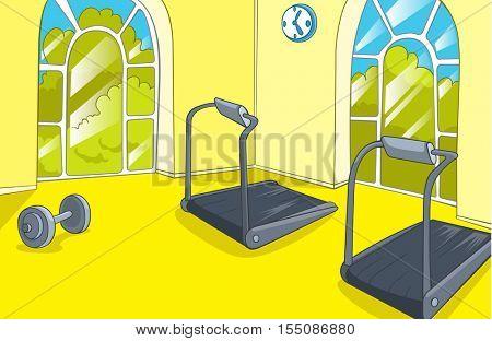 Hand drawn cartoon of gym room. Cartoon background of gym room. Cartoon of fitness center interior. Background of fitness gym room interior with treadmills. Cartoon of modern gym with equipment.