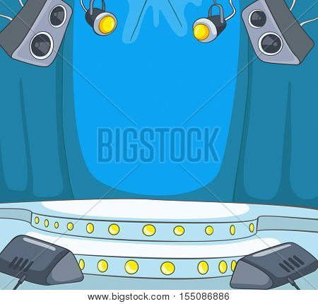 Hand drawn cartoon of nightclub interior. Colourful cartoon of background of nightclub stage. Background of illuminated concert stage. Background of empty disco club with spotlights and loudspeakers.