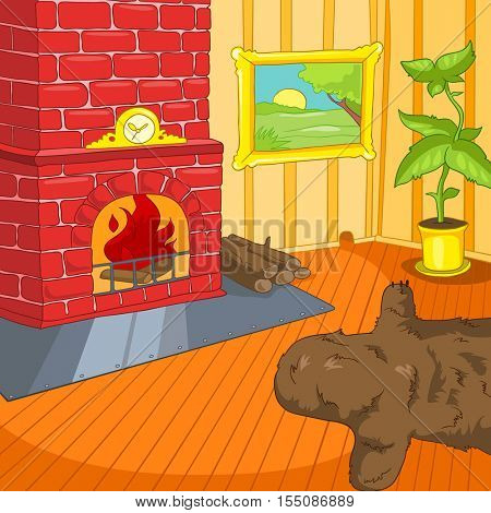 Hand drawn cartoon of living room. Colourful cartoon background of retro living room. Background of living room with bear pelt and fireplace. Cartoon of home interior. Cartoon of living room interior.