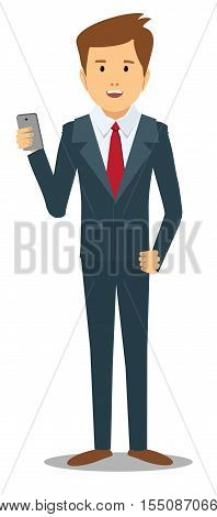 business man with gadget . Stock vector illustration