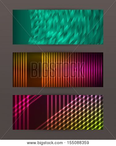 Set Horizontal Banner Design Element Background Glow Abstract Shape13