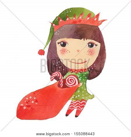Santa's Elf with a bag of candy watercolor illustration on white background
