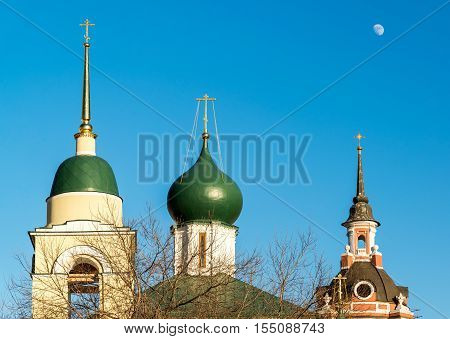 Maxim Cathedral and a St. George Church in Varvarka Street, Moscow, Russia
