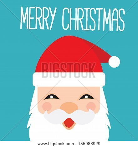 Santa Claus Cartoon Kawaii Card - Merry Christmas Santa Claus Illustration Vector Flat Stock