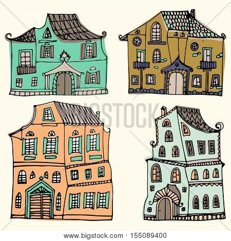 Hand drawn set of sketched typical country houses isolated on white background. Cartoon houses. Front view. Collorful vector illustration.