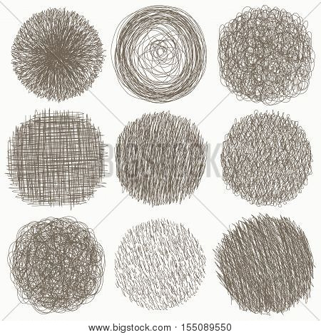 Hand drawn scribble set of doodle circles isolated on white background. Vector illustration. Sketch set of textures. Elements for your design.