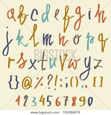Vector alphabet. Hand drawn letters. Letters of the alphabet written with a brush. ABC Painted Letters and numbers. Modern Brushed Lettering. Painted Alphabet. Education.