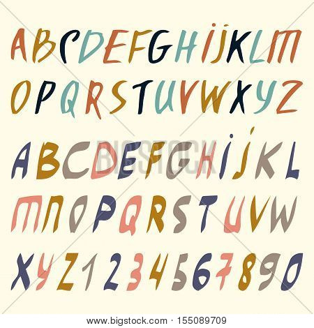 Vector alphabet. Hand drawn letters. Letters of the alphabet written with a brush. ABC Painted Letters.