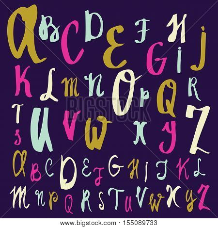 Vector alphabet. Hand drawn letters. Letters of the alphabet written with a brush. Font consists of two files. Look in the portfolio.