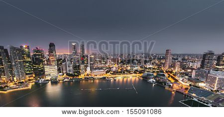 aerial view of the marina bay of the singapore city