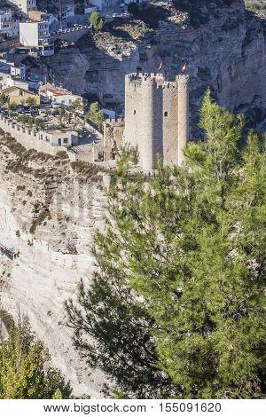 Alcala del Jucar Spain - October 29 2016: Castle of Almohad origin of the century XII take in Alcala of the Jucar Albacete province Spain
