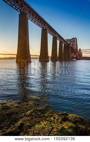 River and Forth Road Bridge at sunset