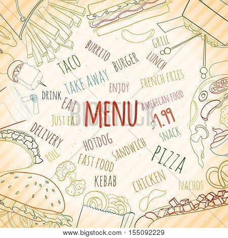 Hand drawn background of doodle style fast food elements of burger, french-fries, sandwich, hotdog, pizza, nachos, drink, burrito. can be used for invitation, banner, card, flyer, sale website menu
