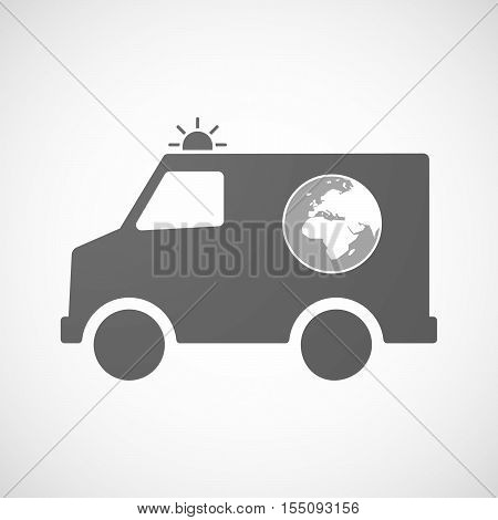 Isolated Ambulance Furgon Icon With   An Asia, Africa And Europe Regions World Globe