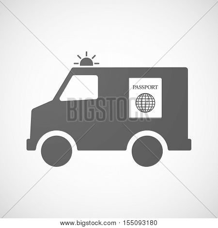 Isolated Ambulance Furgon Icon With  A Passport