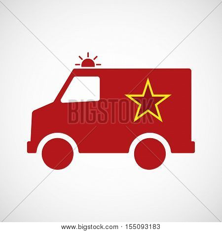 Isolated Ambulance Furgon Icon With  The Red Star Of Communism Icon