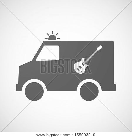 Isolated Ambulance Furgon Icon With  An Electric Guitar